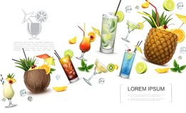 Realistic Alcoholic Drinks Concept vector illustration