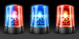 Realistic ambulance flashing. Police light flasher, safety lights and warning siren flashing lamps. Emergency light 3D vector illustration