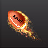 Realistic American Football Ball on fire Stock Image