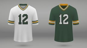 Realistic american football jersey. Green Bay Packers, shirt template for kit. Vector illustration vector illustration