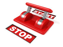 Realistic analog toggle start stop red switch. 3d Stock Images