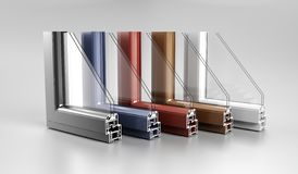Realistic Angle Cut Off Modern PVC Aluminium Metal Home Window H. Igh Quality Different Colored Profiles With Two Glasses Economy Energy Efficient Concept On stock photo
