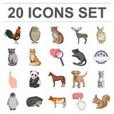 Realistic animals cartoon icons in set collection for design. Wild and domestic animals vector symbol stock web Royalty Free Stock Images