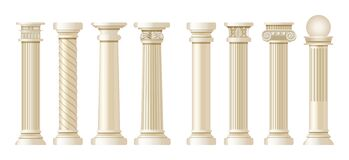 Free Realistic Antique Pillars Set. Antique Column, Classic Pillar. Stock Image - 182798561