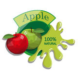 Realistic Apple. Berry label with juice splash. Vector illustration  on white background. 100% natural organic fruit Royalty Free Stock Image