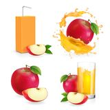 Realistic Apple Juice Splash, Drinking Glass With Flresh Stock Images