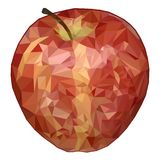 Realistic apple in the style of low poly graphics. Polygonal apple isolated on white background. Red apple vector illustration