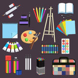 Realistic art supplies, set art materials. Professional art marker, colored pencil, sketchbook, palette and brush, easel. Paint in tube, watercolor, spray Stock Photography