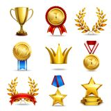 Realistic award icons set. Award icons set of trophy medal winner prize champion cup isolated vector illustration Royalty Free Stock Images