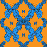 Realistic background of colorful butterflies.  Summer flying insects set for greeting cards and  scrapbook seamless pattern. Royalty Free Stock Images