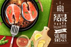 Salmon Steak Background royalty free illustration