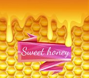 Realistic background with honeycombs and honey dripping. High-quality graphics. Bright pink ribbon Royalty Free Stock Photo