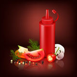 Realistic Background With Red Plastic Bottle And Vegetables. Colorful realistic background with red plastic bottle with ketchup and chopped vegetables vector Stock Photography