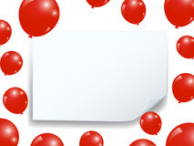 Realistic balloons and curved banner celebrate festive holiday party design and square frame background. Stock Image