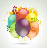 Realistic Balloons Flying with Plants for Party and Celebrations. 3d Vector Realistic Balloons Flying with Plants for Party and Celebrations Stock Image