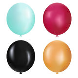 Realistic Balloons set  illustration. Bunches and groups of colorful helium balloons isolated. On background Royalty Free Stock Photography