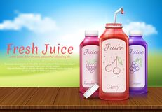 realistic banner with juice bottles stock photo