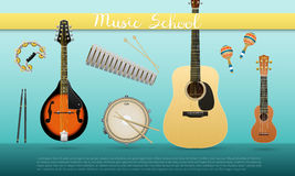 Realistic banner with musical instruments with sign Music School acoustic guitar, ukulele, mandolin, snare drum, maracas vector illustration
