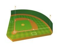 Realistic Baseball Field Illustration Stock Photo