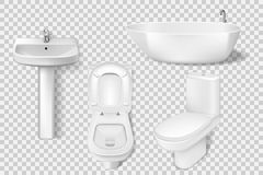 Realistic bathroom collection template. White clean toilet, bowl, sink, washroom basin. Mockup of toilet and sink for stock illustration