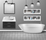 Realistic bathroom furniture interior with modern bathroom sink, mirror, shelves, bathtub and decor elements on grey. Wall with wooden floor. vector vector illustration