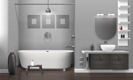 Realistic Bathroom Interior stock illustration