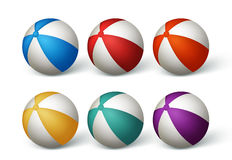 Realistic Beach Balls Set in White Background Stock Photo
