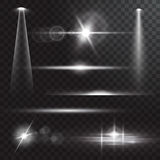Realistic beam lights on transparent background. Royalty Free Stock Photo