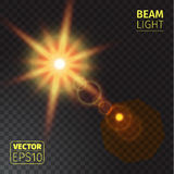 Realistic beam lights on transparent background. Vector illustration of realistic beam lights on transparent background Stock Image