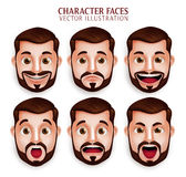 Realistic Beard Man Head with Different Facial Expression. Set of 3D Realistic Beard Man Head with Different Facial Expression  in White Background. Vector Stock Image