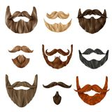 Realistic Beards and Mustache Set Royalty Free Stock Photos