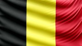 Realistic beautiful Belgian flag waving 4k stock video footage