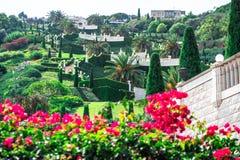Bahai Gardens in Haifa Israel. Realistic beautiful pictures taken from the hill and inside Bahai gardens, Haifa Israel stock photography