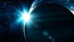 Realistic beautiful planet Jupiter from deep space stock video footage