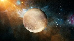 Realistic beautiful planet Pluto from deep space. Abstract Background Stock Photography