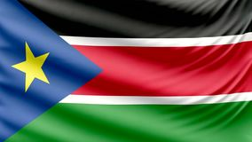 Realistic beautiful South Sudan flag 4k royalty free illustration