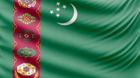 Realistic beautiful Turkmenistan flag 4k stock video