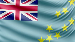 Realistic beautiful Tuvalu flag 4k. Realistic, beautiful, satin Ultra-HD Tuvalu flag waving in the wind, in a Slow Motion. Loop ready in 4k resolution stock video footage