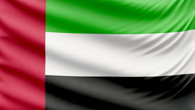 Realistic beautiful United Arab Emirates flag 4k. Realistic, beautiful, satin Ultra-HD United Arab Emirates flag waving in the wind, in a Slow Motion. Loop ready stock footage