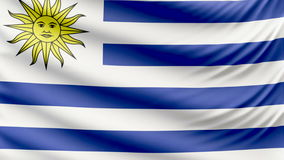 Realistic beautiful Uruguay flag 4k. Realistic, beautiful, satin Ultra-HD Uruguay flag waving in the wind, in a Slow Motion. Loop ready in 4k resolution stock footage