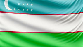Realistic beautiful Uzbekistan flag 4k. Realistic, beautiful, satin Ultra-HD Uzbekistan flag waving in the wind, in a Slow Motion. Loop ready in 4k resolution stock footage
