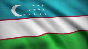 Realistic beautiful Uzbekistan flag. Waving national flag of Uzbekistan.  stock video footage