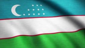 Realistic beautiful Uzbekistan flag. Waving national flag of Uzbekistan.  stock video