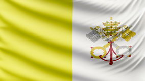 Realistic beautiful Vatican City flag 4k. Realistic, beautiful, satin Ultra-HD Vatican City flag waving in the wind, in a Slow Motion. Loop ready in 4k stock video