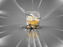 Realistic beautiful whisky glass with ice cubes and whisky vector,broken glass scene Stock Images