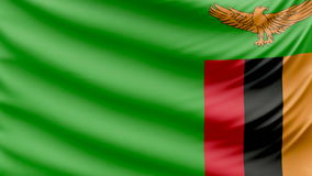Realistic beautiful Zambia flag 4k stock illustration