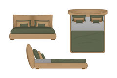Realistic Bed Illustration. Top, Front, Side View for Your Interior Design. Scene Creator stock illustration