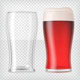 Realistic beer glasses - red beer and empty mug Royalty Free Stock Images