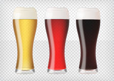 Realistic beer glasses set Stock Image