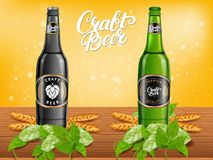 Realistic beer products ad. Vector 3d illustration. Dark and light craft beer bottle template design. Alcoholic drink brand glass bottle advertisement poster vector illustration